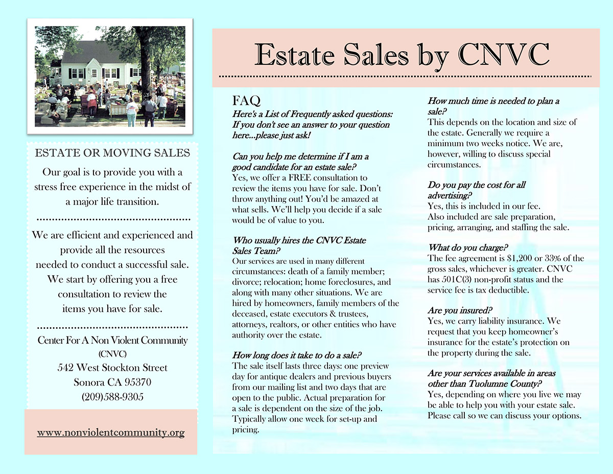 Estate Sales Center For A Non Violent Community